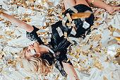 fashion model party leisure blonde confetti rain