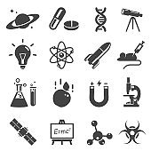 Scientific study and research glyph vector icons set