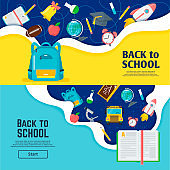 Back to school banner, classroom bright poster