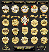 Collection of golden badges and labels retro style