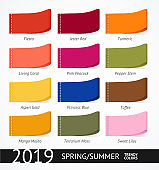 Spring and Summer Trendy Colors Label Set. Vector