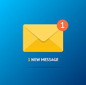 New Incoming Message Concept on a Blue Background. Vector