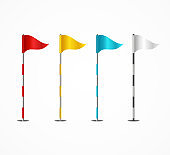 Realistic 3d Detailed Golf Flag Set. Vector