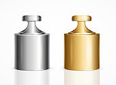 Realistic Detailed 3d Calibration Weight Laboratory Golden and Silver Color Set. Vector