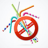 Realistic 3d Detailed Say no Plastic Concept with Plastic Straws and Forbidden Sign. Vector