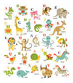 Cute vector cartoon baby animals alphabet on white background. Vector illustration for kids education,  language study. Children pattern with animals and letters.