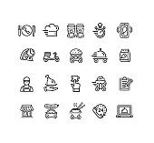 Food Delivery Service Sign Black Thin Line Icon Set. Vector