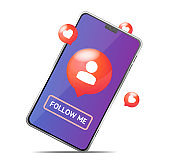 Follow Me Concept with Realistic Detailed 3d Mobile Phone. Vector