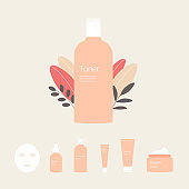 Set of cosmetic and skin care icons with plant leaves.