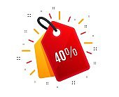 40% off Sale. Discount offer price sign. Vector