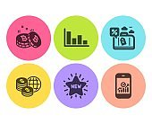 Travel loan, New star and Bitcoin icons set. Histogram, World money and Smartphone statistics signs. Vector