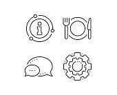 Restaurant food line icon. Dinner sign. Hotel service. Vector