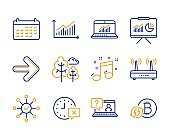 Faq, Wifi and Survey check icons set. Next, Online statistics and Time signs. Vector