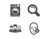 Search, Washing machine and Teamwork icons. Problem skin sign. Vector