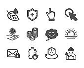 Set of Business icons, such as Refill water, Coins, Click hand. Vector