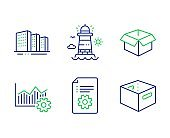 Buildings, Technical documentation and Lighthouse icons set. Vector