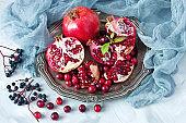 Group of fresh pomegranates