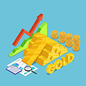 Isometric gold bar with rising stock market graph dollar coins financial document