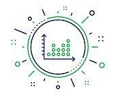 Dot plot graph line icon. Presentation chart sign. Vector