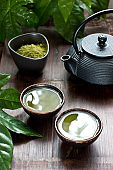 Green matcha tea drink and teapot