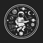 Monochrome vector illustration, poster, t-shirt design. Cartoon astronaut with stars, comet, planets and constellations with circle frame on a dark background.