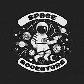 Space adventure vector illustration, poster, t-shirt design. Monochrome cartoon astronaut holding a blaster with constellations, planets and stars on a dark background.