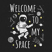 Welcome to my space rectangular vector illustration, poster, t-shirt design. Monochrome cartoon astronaut making peace sign with planets, constellations, comet and yellow stars on a dark background.