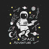 Space adventure vector illustration, poster, t-shirt design. Monochrome cartoon astronaut holding a blaster with planets, comet, constellations and yellow stars with pink and green/blue shadows.
