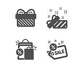 Present, Gift and Shopping bags icons. Sale sign. Gift, Present, Sale discount. Shopping tag. Vector