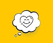 Smile face line icon. Happy emoticon chat sign. Heart face. Vector