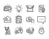 Set of Education icons, such as Creativity concept, Technical documentation, Idea. Vector
