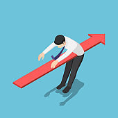 Isometric red arrow piercing through the body of businessman