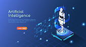 Isometric web banner Ai Robot floating on computer chip circuit board