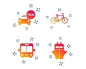 Transport icons. Taxi car, Bicycle, Bus and Ship. Vector