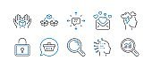 Set of Technology icons, such as Shopping cart, Mindfulness stress, Hold box. Vector