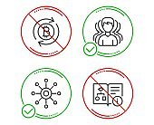 Group, Refresh bitcoin and Multichannel icons set. Technical algorithm sign. Vector