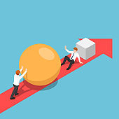 Isometric businessman with sphere go faster than his rival and be able to eliminate him
