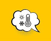 Weather thermometer line icon. Winter snowflake, sun sign. Vector