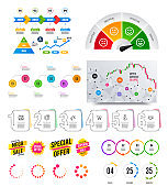 Infographic elements. Financial graph, options banner badges. Sale shapes, countdown. Analytics chart, timeline. Vector