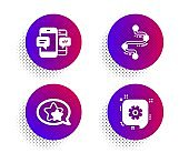 Star, Timeline and Smartphone sms icons set. Cogwheel sign. Favorite, Journey path, Mobile messages. Vector