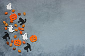 Halloween holiday background with  decoration and candy