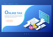 Isometric web banner online tax payment on computer smartphone and digital tablet