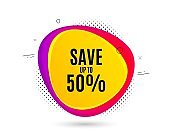 Save up to 50%. Discount Sale offer price sign. Vector