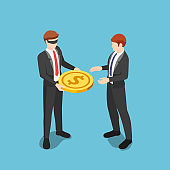 Isometric blindfolded businessman giving money to other business people