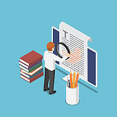 Isometric businessman proofreading a document on pc monitor
