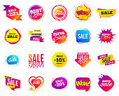 Sale banner. Special offer template tags. Cyber monday sale discounts. Black friday shopping icons. Vector