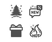 New, Christmas tree and Gift box icons. Hot sale sign. Discount, Spruce, Present package. Shopping flame. Vector