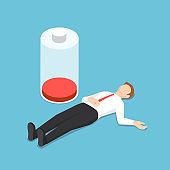 Isometric businessman fainting on the floor with low energy battery
