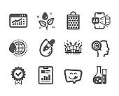 Set of Business icons, such as World water, Yummy smile, Eye drops. Vector