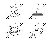 Sale, Laptop repair and Coupons icons set. Refer friend sign. Shopping tag, Computer service, Shopping tags. Vector